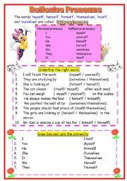 English Worksheet: Reflexive Pronoun