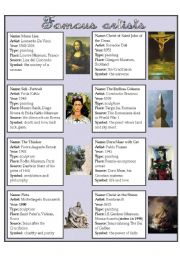 English Worksheet: FAMOUS ARTISTS