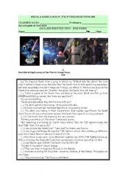 English Worksheet: English Written test- cinema:Star wars