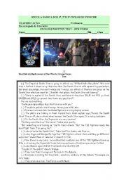English Worksheets: English Written test- cinema:Star wars