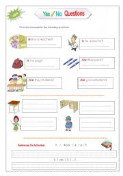 English Worksheet: Yes-No questions with verb be