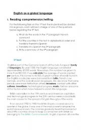 English Worksheet: Reading Comprehension: English as a global language