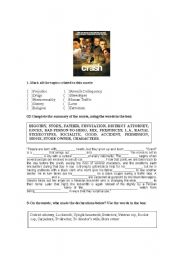 English Worksheets: Written activity based on the movie  ��Crash - No limite��