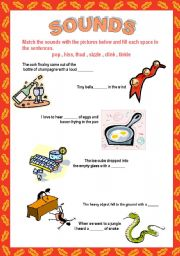 English Worksheets: SOUNDS 5 pages!! :pop, boom, chirrup, etc. + KEY + DEFINITIONS of sounds
