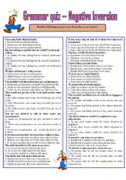 English Worksheet: GRAMMAR QUIZ ---- NEGATIVE INVERSION