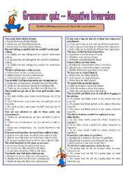 English Worksheet: GRAMMAR QUIZ ---- NEGATIVE INVERSION
