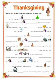 English Worksheets: Thanksgiving illustrated - simplified history