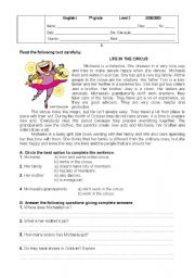 English Worksheet: Life in the circus