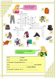 English Worksheets: Crossword - vocabulary