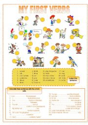 English Worksheets: My first verbs