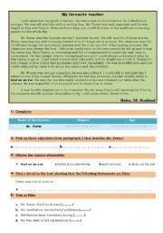 English Worksheets: My Favourite Teacher