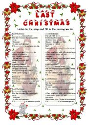 last christmas wham song fill in level intermediate age 13 17 downloads 275 - Song Last Christmas