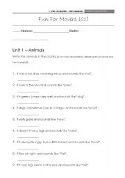 English Worksheet: Fun for movers - animals