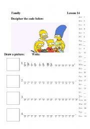 English Worksheet: Family cryptogram
