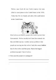 English Worksheet: Wolves 2 - Endangered Species