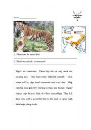English Worksheets: Tigers - Endangered 1