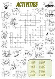 English Worksheets: Activities Crossword (2 of 2)