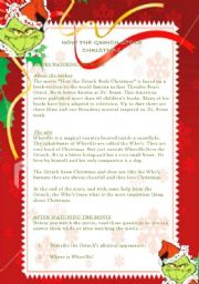 English Worksheets: How The Grinch Stole Christmas  -  Lesson Plan 2 pages