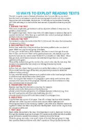 English Worksheets: exploit the text