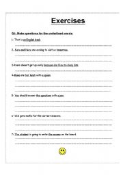English worksheet: wh exercises