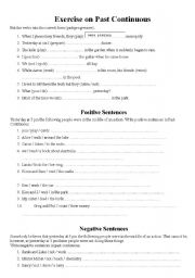 English Exercises: Past Continuous Tense exercise