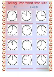 telling time it s o clock esl worksheet by inrode. Black Bedroom Furniture Sets. Home Design Ideas