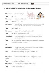 English Worksheets: Funny job interview - Flow chart  - Letter of application