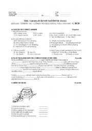 English Worksheet: exam suitable for movers form