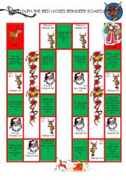 English Worksheet: Rudolph The Red Nosed Reindeer BoardGame (1/3)