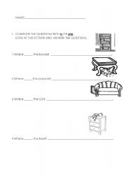 English Worksheets: Where are these things?