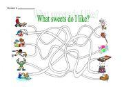 English Worksheet: Sweets / I like
