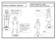 English Worksheet: DESCRIBING CLOTHES AND COLOURS