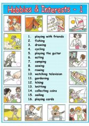 English Worksheet: Hobbies & Interests - 1 / 2