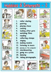 English Worksheet:    Hobbies & Interests - 2 / 2