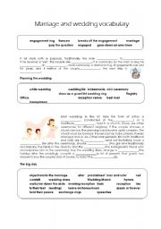 English Worksheet: marriage and wedding vocabulary