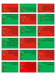 English Worksheet: Rudolph the Rednosed Reindeer Challenge Cards (3/3)