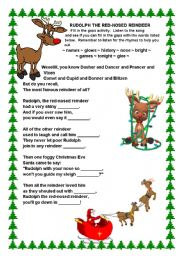 English Worksheet: Rudolph the Red-nosed Reindeer Song
