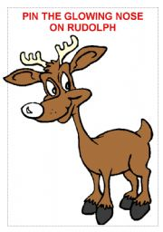 English Worksheet: PIN THE GLOWING NOSE ON RUDOLPH