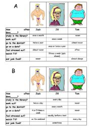 English Worksheets: How often does he/she....?