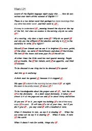 English worksheet: What´s UP??