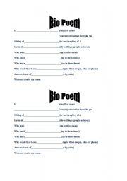 English worksheet: Bio Poem