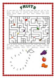 English Worksheet: fruits: a maze and dot-to-dot