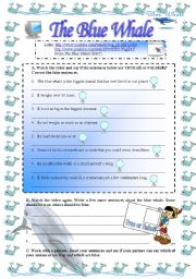 English Worksheet: The Blue Whale (task for short video)