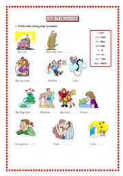 English Worksheet: OBJECT PRONOUN - LOVE IS ALL AROUND