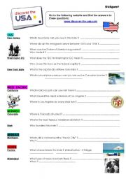 English Worksheet: USA webquest
