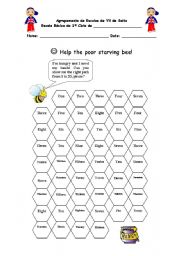 English Worksheets: Help the poor starving bee!