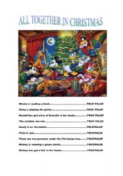 English Worksheet: TRUE OR FALSE  DISNEY CHRISTMAS  PICTURE