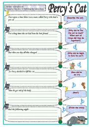 English Worksheets: Percy�s cat  (guided writing) - printable