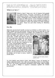 English Worksheets: Ghandi -  reading comprehension