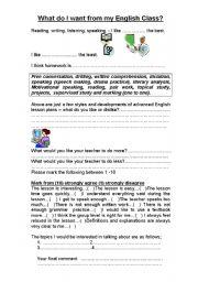 English Worksheets: Student English lesson feedback survey form